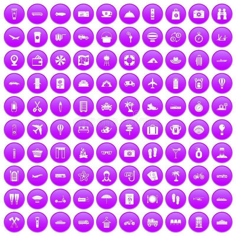 紫色100个旅行时间的象被设置 皇族释放例证