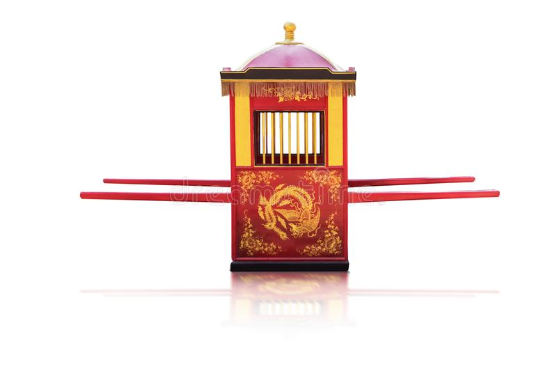 繁体中文文化,运载新娘的Palanquin 库存照片