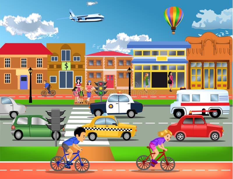 繁忙的交通在镇里 向量例证