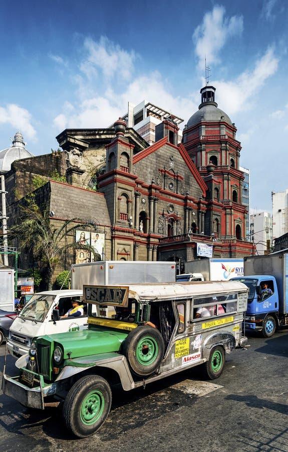 繁忙的交通街道在中央马尼拉市菲律宾亚洲 免版税图库摄影