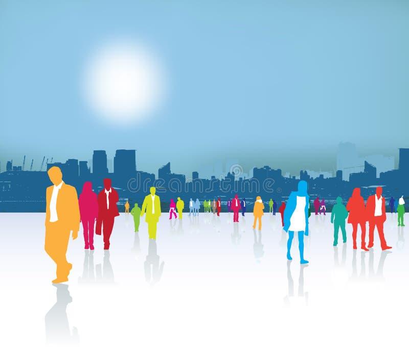 繁忙的城市居民 向量例证