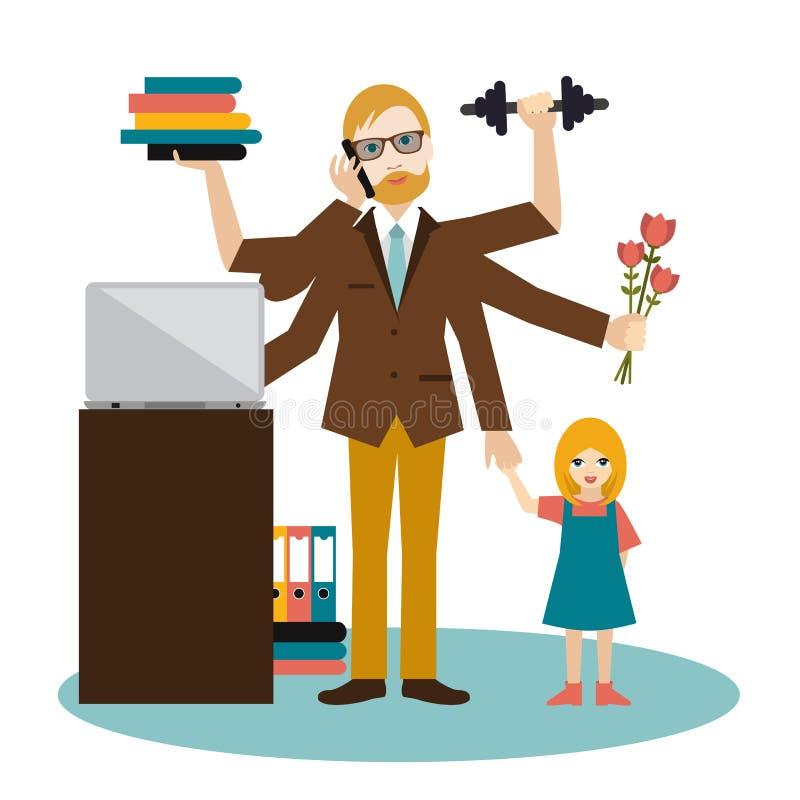 繁忙的多任务人,父亲,爸爸,爸爸,浪漫丈夫,商人,工作者 有儿子的,工作年轻人,叫和做e 皇族释放例证
