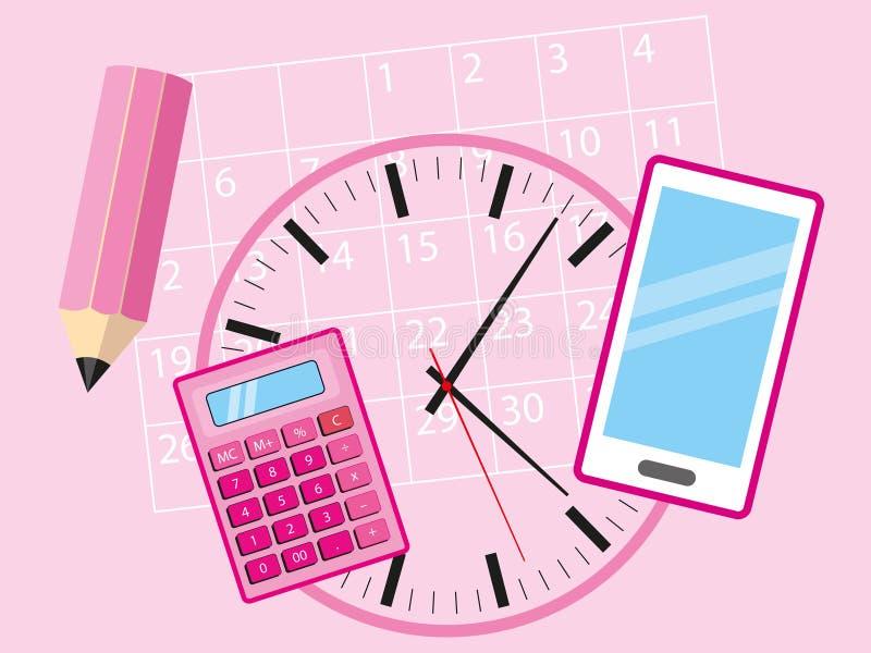 繁忙的女商人的-手机、计算器、说谎在桃红色背景的日历、时钟和铅笔办公室对象-概念i 库存例证