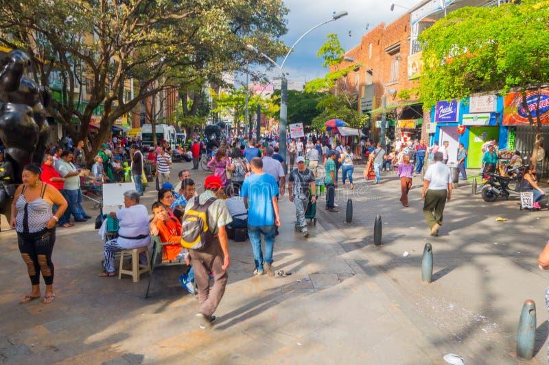 繁忙的步行街道在麦德林市,哥伦比亚 库存照片