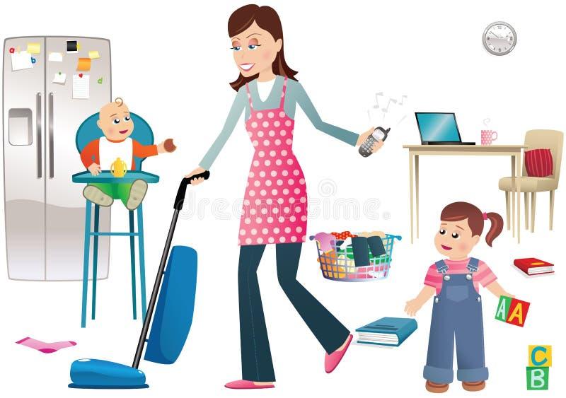 繁忙的母亲和孩子 向量例证