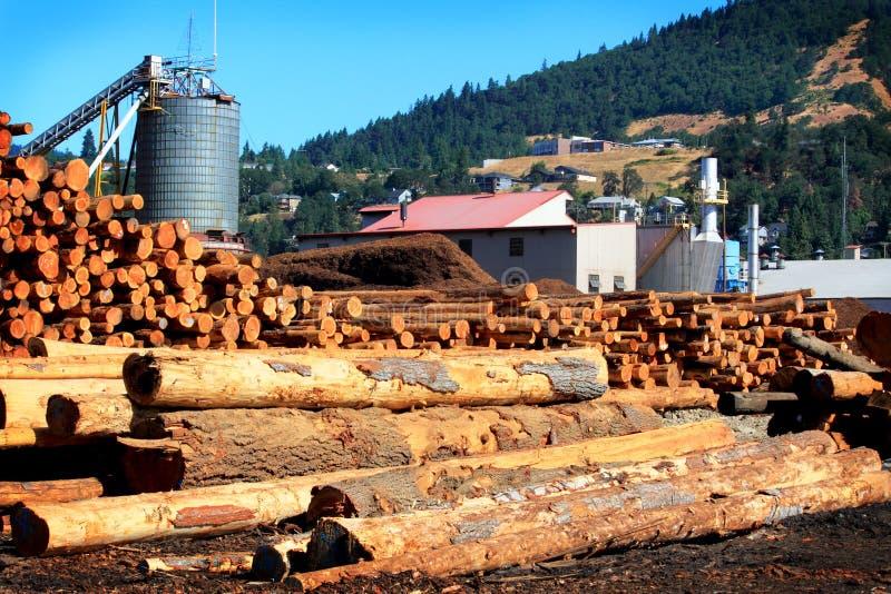 繁忙的现代锯木厂 免版税库存图片