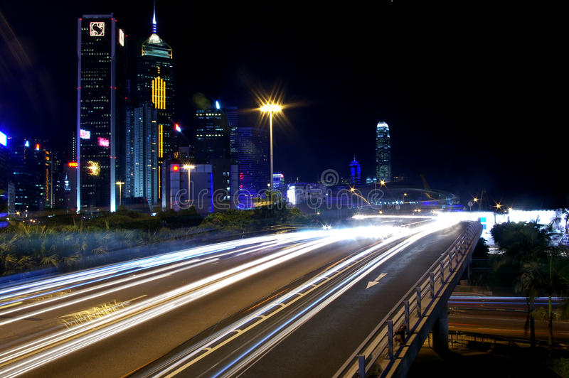 繁忙的街市香港业务量 免版税库存图片