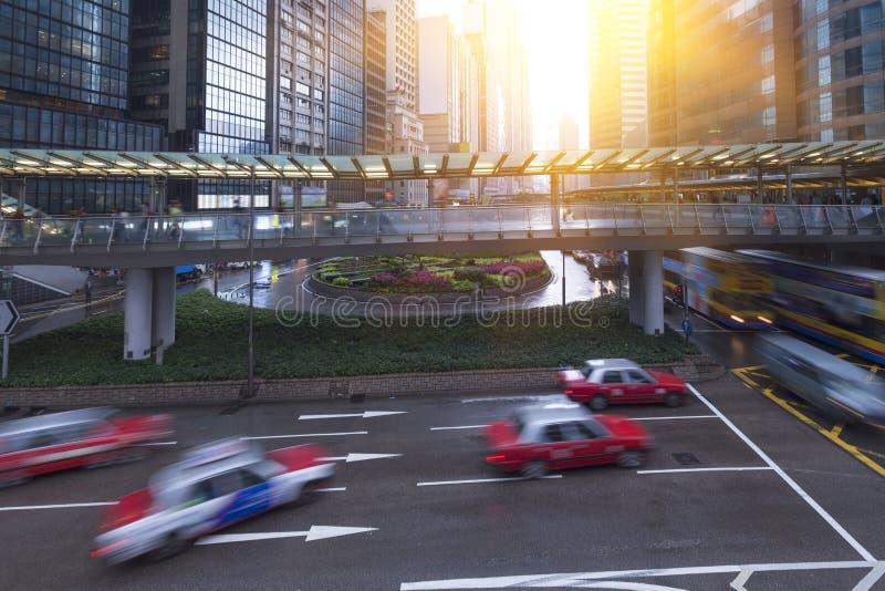 繁忙的路在香港 免版税库存照片