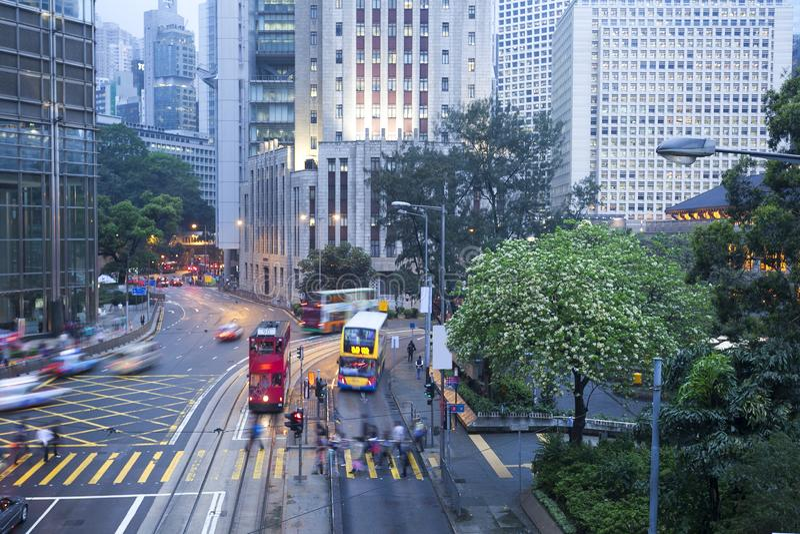 繁忙的路在香港 库存照片