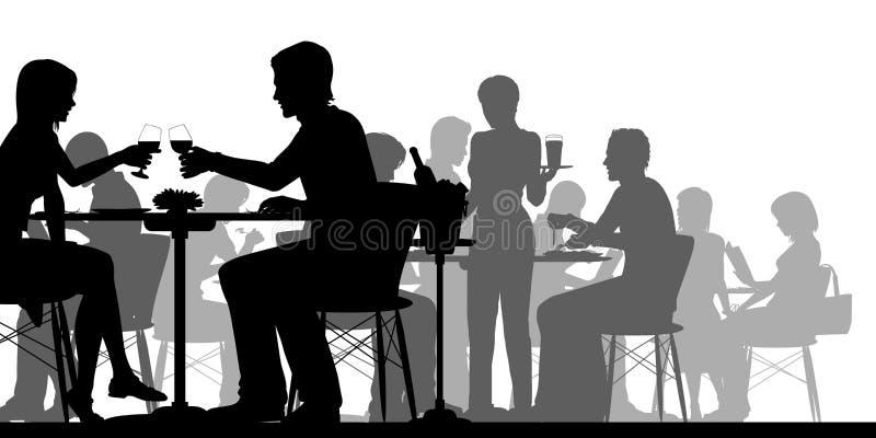 繁忙的餐馆剪影 皇族释放例证