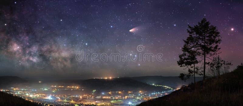 繁星之夜全景 免版税库存照片