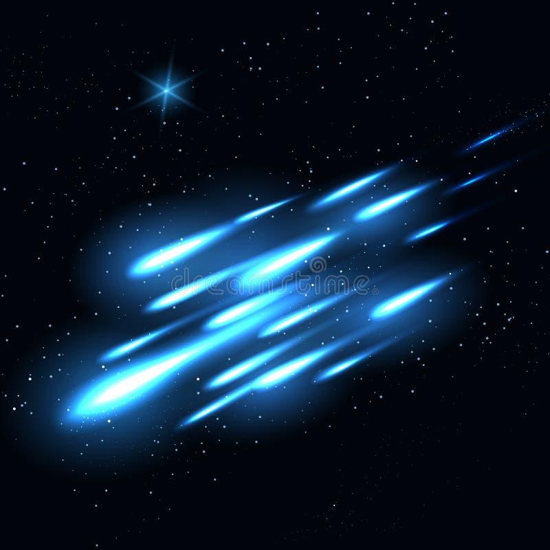 繁星之夜天空流星背景 向量例证