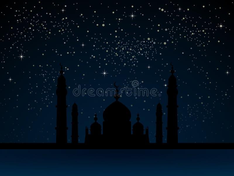 繁星之夜天空的清真寺与蓝色焕发 皇族释放例证