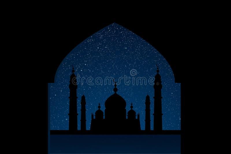 繁星之夜天空的清真寺与蓝色焕发 库存例证