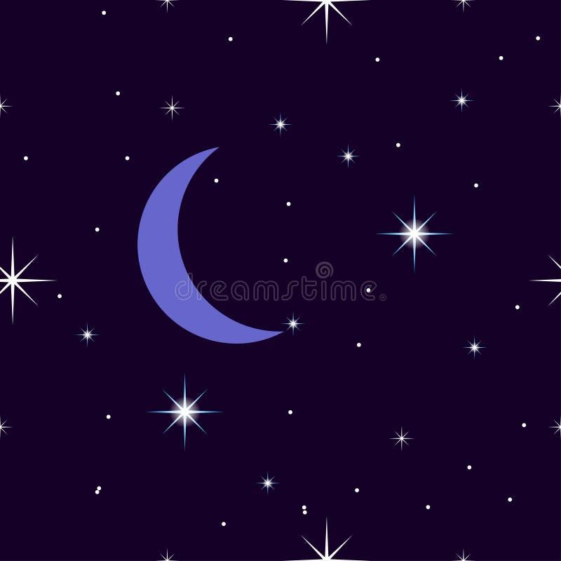 繁星之夜天空,与月亮的无缝的样式,新月形月亮 皇族释放例证