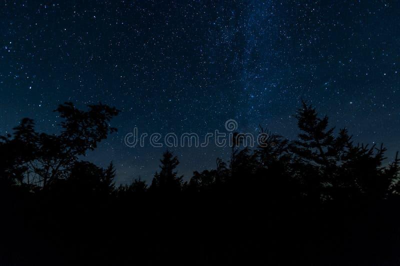 繁星之夜-移动式摄影车铺草皮原野,西维吉尼亚 免版税图库摄影