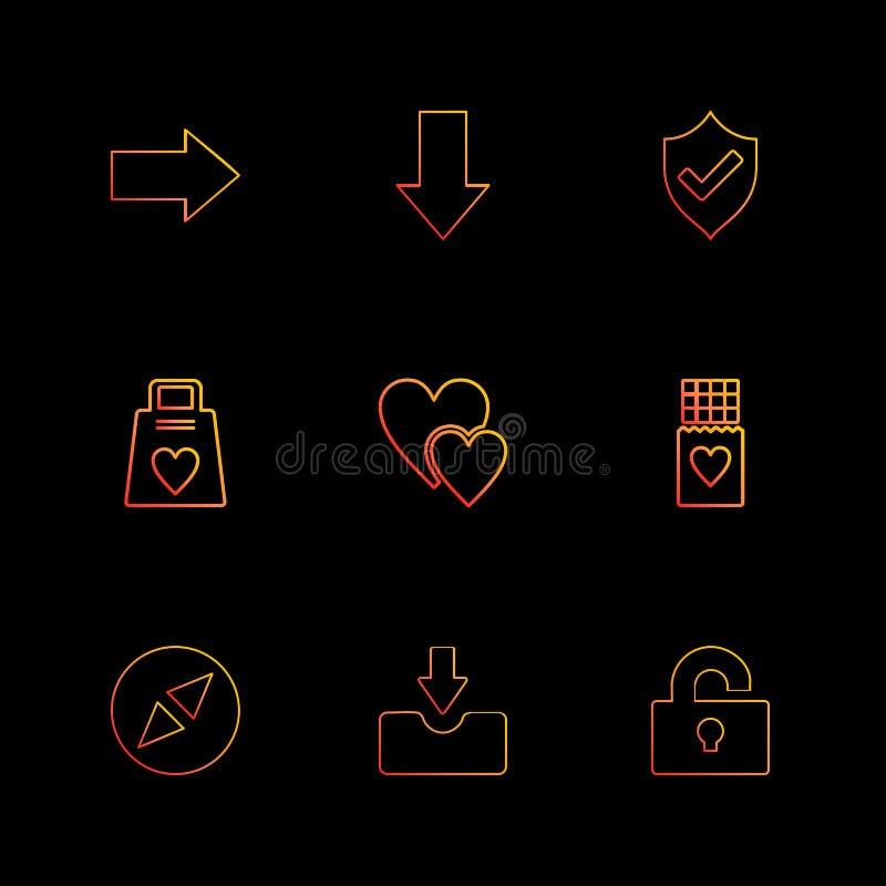 纠正,下来, sheild,心脏,下载,开锁,衡量, eps我 向量例证