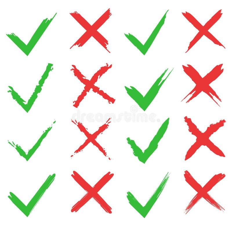 红十字和绿色壁虱集合 是和网站和应用的没有象 在白色backg隔绝的正确和错误标志 库存例证