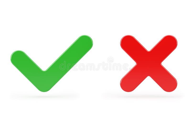 红十字和绿色复选标记、确认或拒绝、是或否图标标记 3d渲染 免版税库存照片