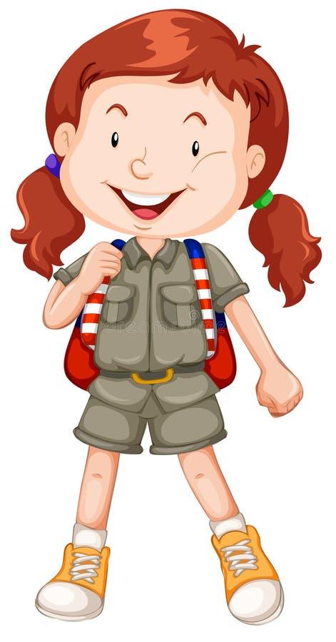 红发女童子军字符 库存例证