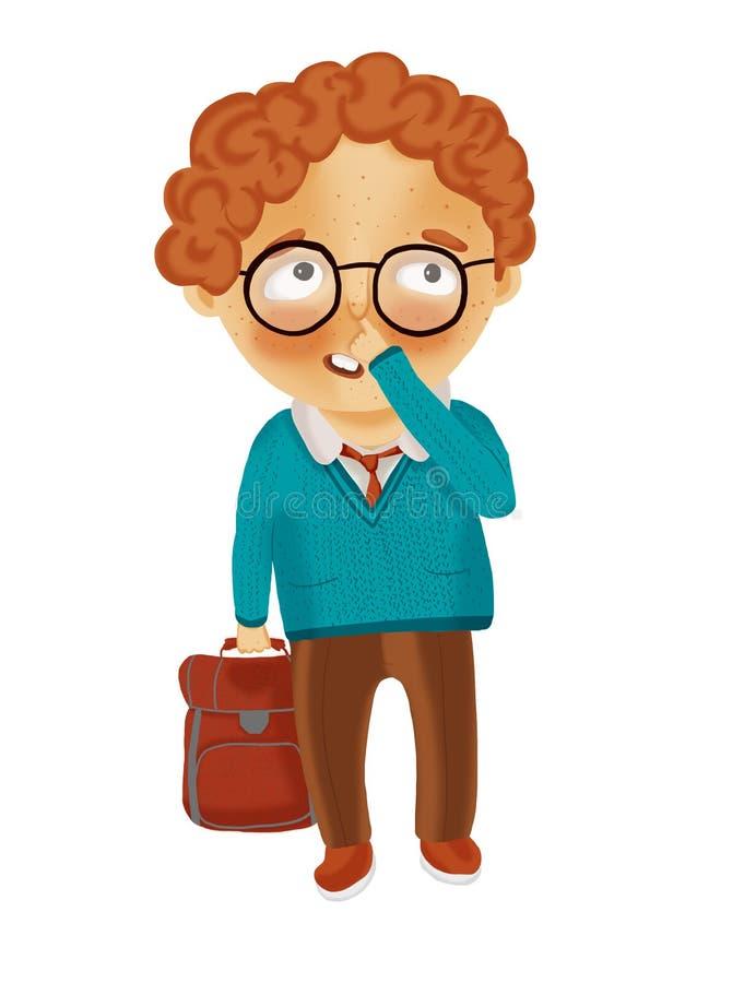红发男小学生站立与公文包并且采摘他的鼻子 库存例证