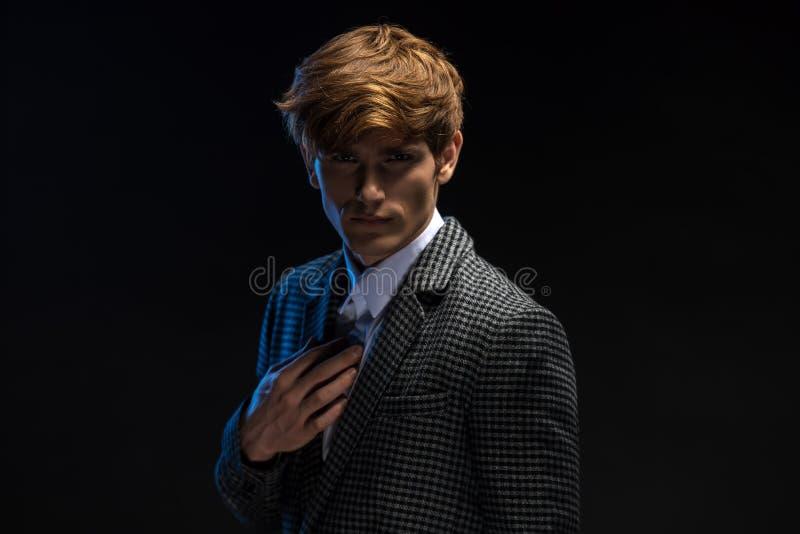 红发英俊的人画象  免版税库存图片