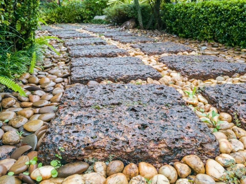 红土带石走道在庭院和岩石里 免版税库存照片