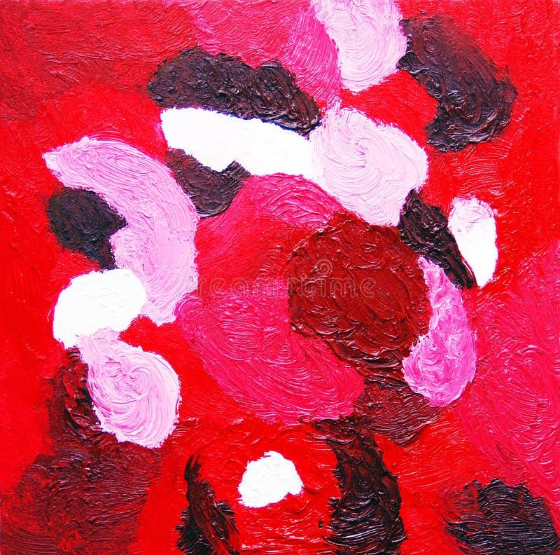 红场 在红色口气的抽象颜色绘画 库存例证