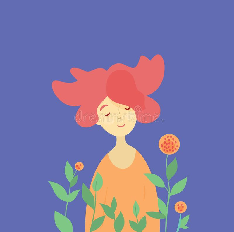 红头发人女孩和春天开花 库存例证