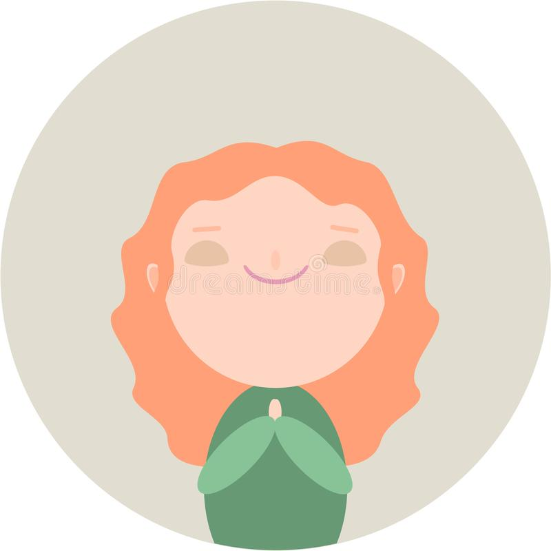红头发人逗人喜爱的女孩 库存例证