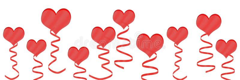 红心和丝带在白色背景中 库存例证