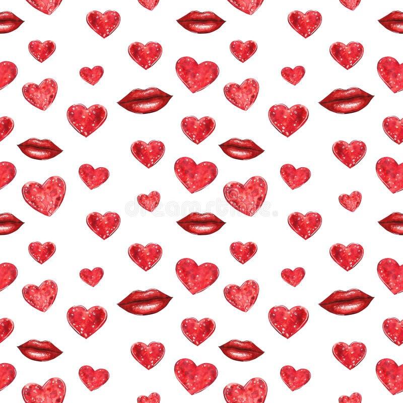 红心和嘴唇无缝的样式,水彩例证 皇族释放例证