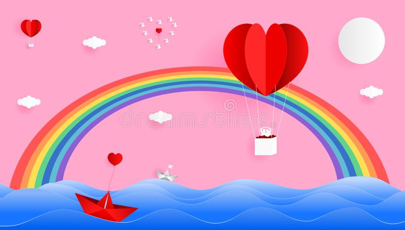 红心在天空的形状气球与在海的美丽的彩虹 向量例证
