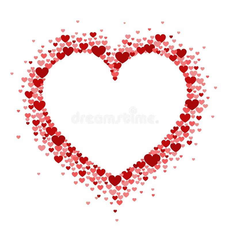 红心框架以牡鹿的形式 传染媒介情人节卡片或婚姻的邀请 库存例证
