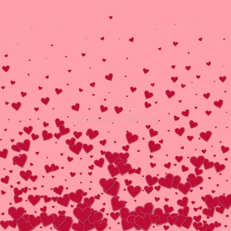 红心爱五彩纸屑 情人节梯度 库存例证