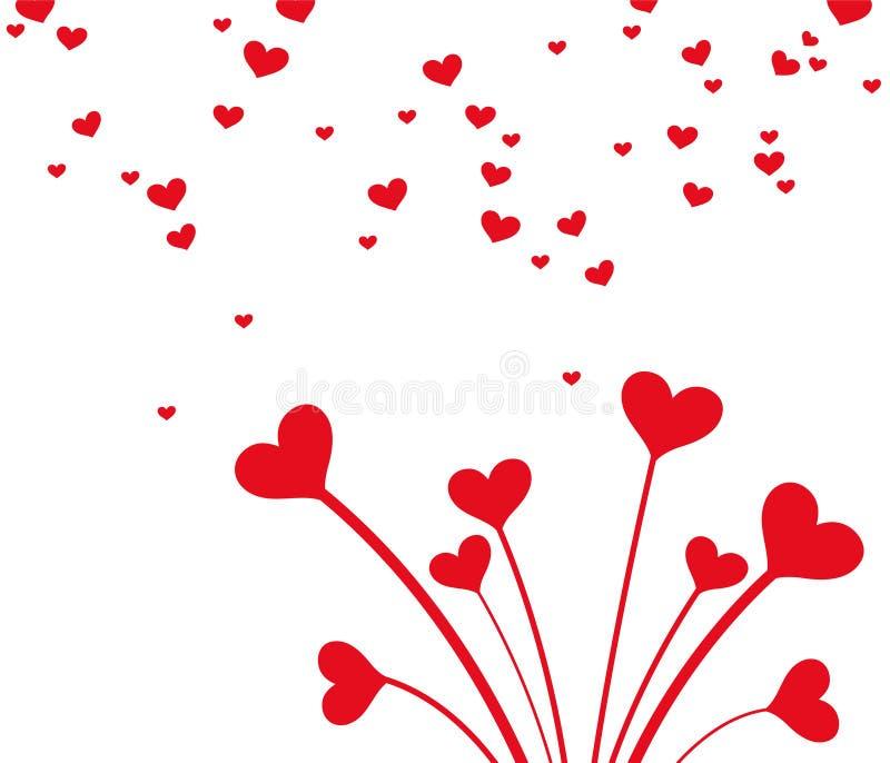 红心花束为情人节 卡片的干净和可爱的设计 皇族释放例证