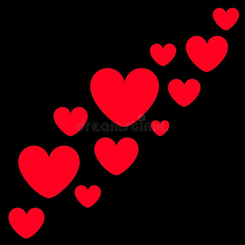 红心象集合移动 愉快的情人节标志标志简单的模板 逗人喜爱的图表对象 平的设计样式 爱问候 库存例证
