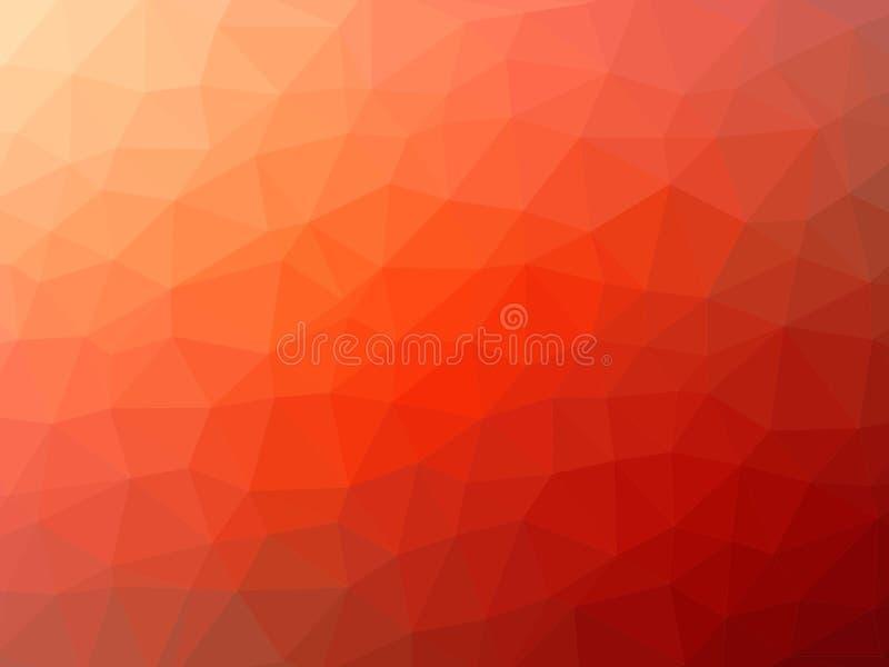 红橙色低多背景 库存例证