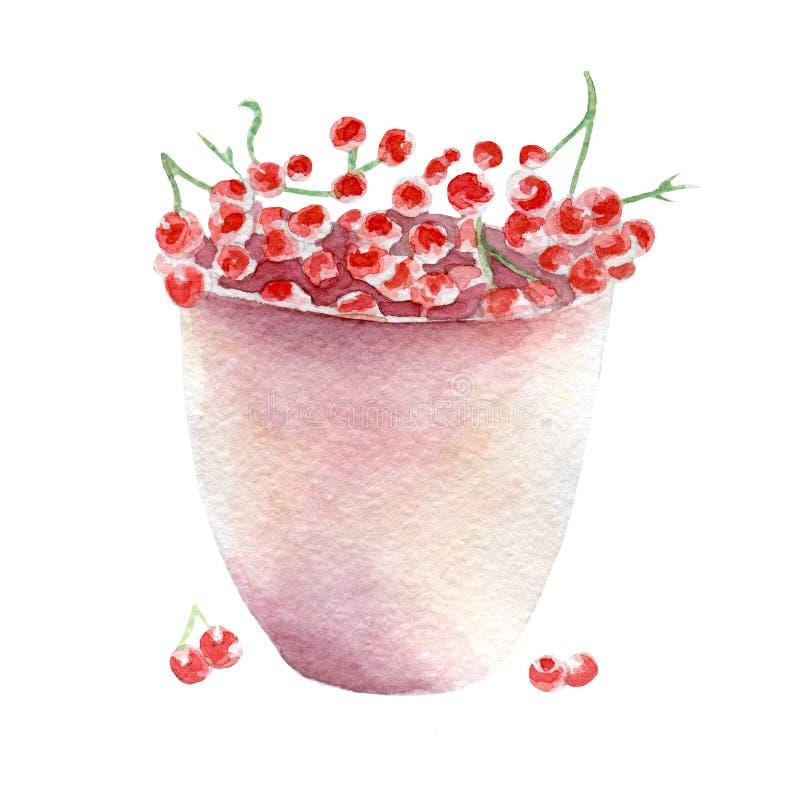 红浆果例证 在白色背景的手拉的水彩 向量例证
