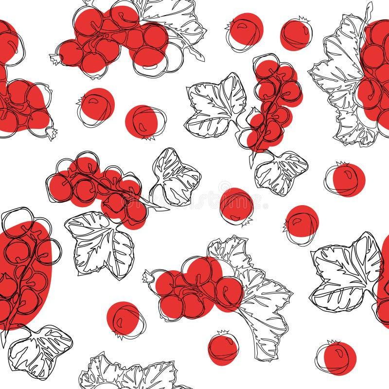 红浆果果子的无缝的样式 白色背景用红浆果莓果 食品包装汁液breakfas设计的最好  皇族释放例证