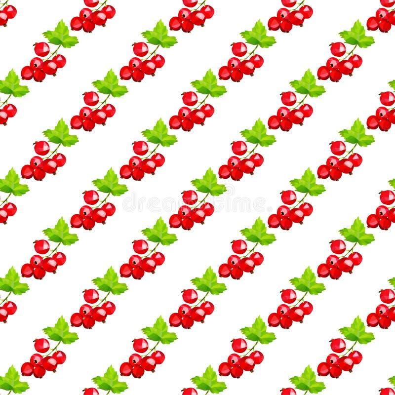 红浆果莓果群在轻的背景的在一个无缝的样式 皇族释放例证