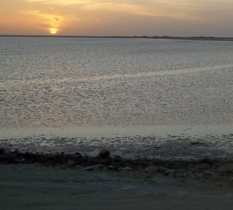 红海日落 库存照片