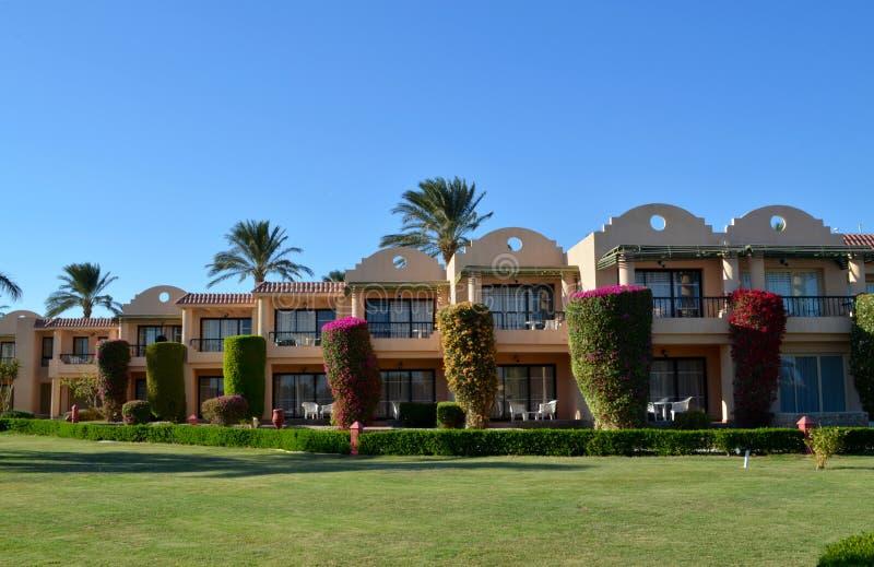 红海的埃及旅馆在洪加达 免版税库存图片