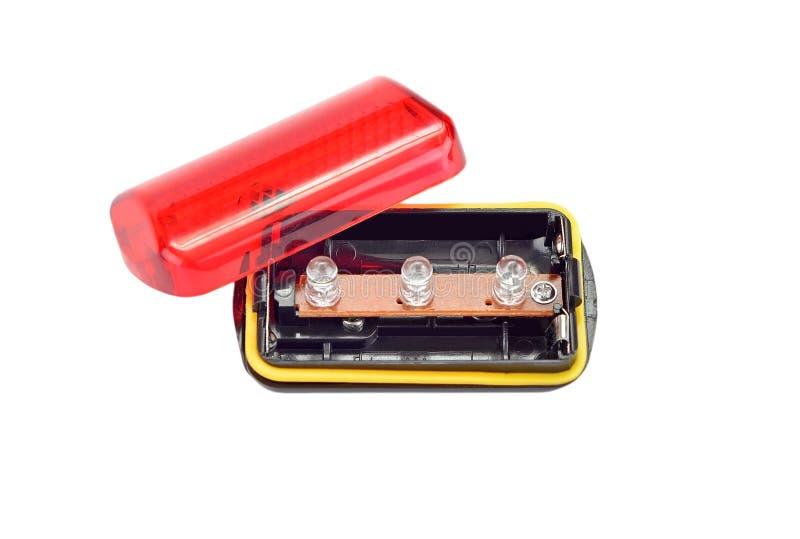 红灯自行车反射器 库存照片