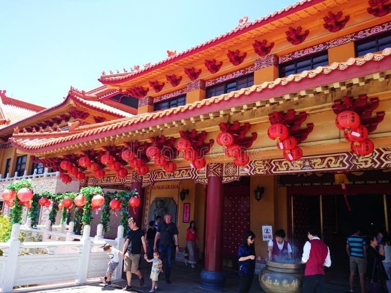 红灯记和主要寺庙@南连队寺庙 免版税库存图片