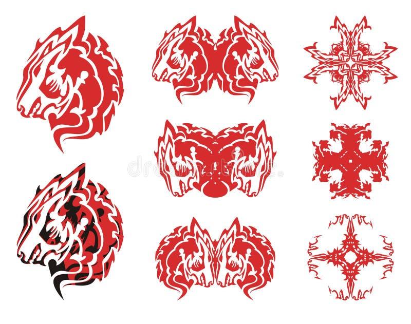 红狼头标志和十字架从它 皇族释放例证