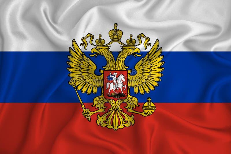 红白蓝的俄罗斯国旗迎风飘扬,特写 俄罗斯联邦爱国主义观 库存照片