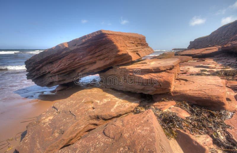 红砂岩海岸线,爱德华王子岛 免版税库存图片