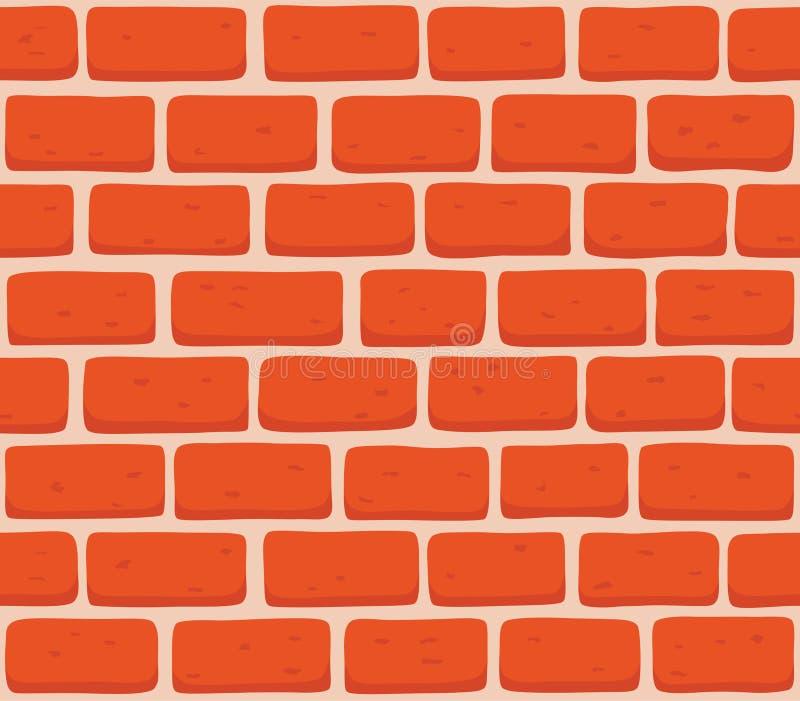 红砖墙壁无缝的传染媒介例证背景-连续的复制品的纹理样式 向量例证