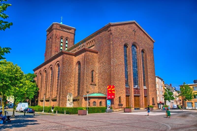 红砖天主教会安特卫普,比利时,比荷卢三国, HDR 库存图片